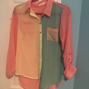 Tops - BUTTON UP NEON TOP